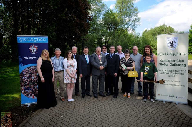 The programme for the 2nd Gallagher Global Gathering was launched on 04.06.13 at the LYIT Campus in Letterkenny. Included in the picture are Mayor of Donegal, Cllr. Frank McBrearty; Donegal Co. Manager Seamus Neely, members of the organising committee and friends.