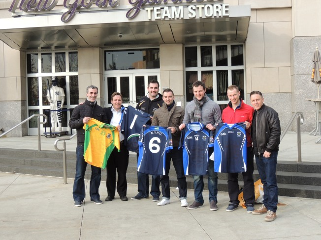 Photographed at the Yankee Stadium South Bronx, New York during the 2012 All Star visit to New York  Manager Donegal, Jim McGuinness;  Chairman of NYPD Gaelic Football Club, Peter McCormack; Paul Durkin, Goalkeeper; 2012 Player of the year Karl Lacey; Donegal Captain Michael Murphy; Donegal half back Anthony Thompson and Paul McCormack