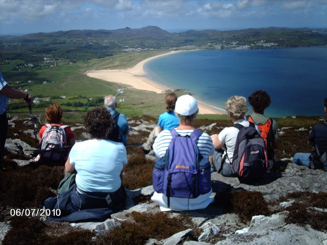Group over Portsalon. Photo: Courtesy of Walking and Talking in Donegal