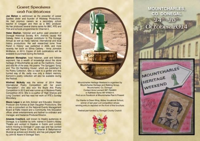 Mountcharles Heritage Fest - brochure front 2014