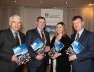 Donegal's new tourism brochure unveiled - The splendid surroundings of the Villa Rose Hotel in the busy town of Ballybofey played host to the launch of the new Donegal Tourism brochure for 2019 at the launch were Mícheál Ó hÉanaigh, CEO of Udaras na Gaeltachta , Cathaoirleach of Donegal County Council Cllr. Seamus O'Domhnaill, Máire Ní Fhearraigh, Donegal County Council and Donegal County Council CE, Seamus Neely. Photo Clive Wasson