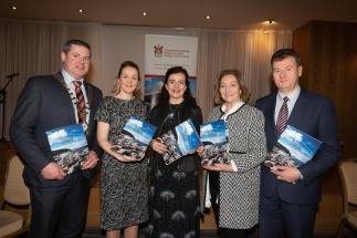 Donegal's new tourism brochure unveiled - The splendid surroundings of the Villa Rose Hotel in the busy town of Ballybofey played host to the launch of the new Donegal Tourism brochure for 2019 at the launch were Cathaoirleach of Donegal County Council Cllr. Seamus O'Domhnaill, Martina Rafferty, Waterfront Hotel, Joan Crawford Failte Ireland, Gerarda Arnold, Arnolds Hotel and Donegal County Council CE, Seamus Neely. Photo Clive Wasson