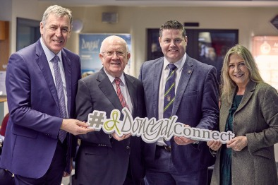 Pictured at the launch of Donegal Connect at Donegal Airport on Friday is Packie Bonner, Pat The Cope Gallagher TD., Cllr. Seamus O'Domhnaill and Mairead Ni Mhaonaigh.