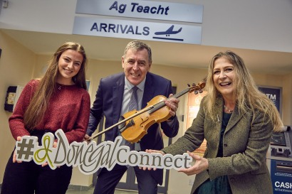 Launching 'Donegal Connect' at Donegal Airport on Friday is Packie Bonner and Mairead Ni Mhaonaigh with her daughter Nia. Donegal Connect is a new initiative aimed at enticing Donegal people home for a 10 day celebration this autumn.